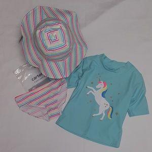 Carter's unicorn 3 Piece girls Swimsuit